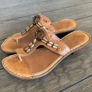Born Brown Tan Leather Beaded flip flop sandal